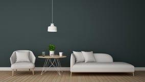 Bosatt område i vardagsrummet eller coffee shop - tolkning 3D Royaltyfria Bilder