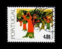 Bosbouw, δάση - κύκλος των φυσικών πόρων serie, circa 1977 Στοκ εικόνα με δικαίωμα ελεύθερης χρήσης