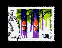 Bosbouw, Bossen - Cyclus van Natuurlijke rijkdommen serie, circa 1977 stock fotografie