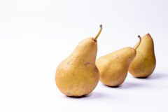 Bosc pears on white background Stock Images