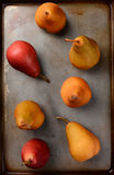 Bosc and Red Pears on Baking Sheet Stock Image