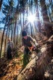 Boscaioli senior che tagliano gli alberi Immagini Stock