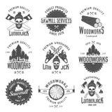 Boscaiolo Black White Emblems Illustrazione di Stock