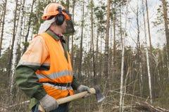 Boscaiolo con un'ascia sui precedenti della foresta Immagine Stock Libera da Diritti