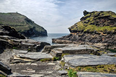 Boscastle, Cornwall. With rocky slate in the foreground Royalty Free Stock Image