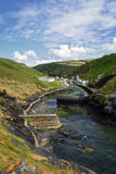 Boscastle in Cornwall. Steep cliffs and harbour at Boscastle, a small fishing village on the north coast of Cornwall Royalty Free Stock Image