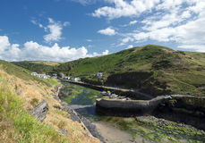 Boscastle in Cornwall. A view over Boscastle harbour in Cornwall Stock Photos