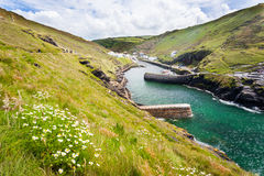 Boscastle Harbour. The entrance to the harbour at Boscastle on the North Cornwall Coast Royalty Free Stock Photography