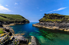 Boscastle harbour entrance. Rock formation at entrance to Boscastle harbour, in Cornwall, southwest,England,UK Royalty Free Stock Images