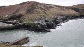 Boscastle North Cornwall England UK town and harbour pan between Bude and Tintagel England UK stock video footage