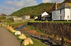 Boscastle village, Cornwall, England, UK. Typical Cornish village landscape and stone river bank. Boscastle in North Cornwall, England, Britain Stock Images