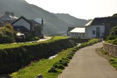 Boscastle village, Cornwall, England, UK. Typical Cornish village landscape and stone river bank. Boscastle in North Cornwall, England, Britain Stock Photography