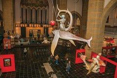 Bosch绘画元素的雕刻的再生产在Jheronimus Bosch艺术中心在s斯海尔托亨博斯 有巨大的c的历史城市 图库摄影