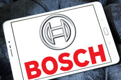 Bosch logo. Logo of electronics and kitchen appliance company bosch on samsung tablet royalty free stock photos