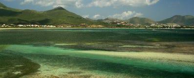 Boschetto Vista della noce di cocco della st Maarten Fotografie Stock Libere da Diritti
