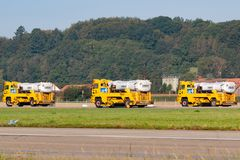 Boschung airport division large Jet broom used by the Swiss Air Force to clean airport runways stock photography