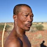 Boscimano del cacciatore del ritratto, Namibia Fotografia Stock