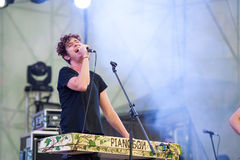 Bosco Fresh Fest open-air live music festival. MOSCOW - MAY 25: Pianoboy group performs at Bosco Fresh Fest in Gorky Park on May 25, 2013 in Moscow. The mission Stock Photography