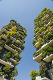 Bosco Verticale is a pair of two upscale residential towers in Milan`s Porta Nuova district consisting of hundreds of. Milan, Italy - April 25, 2018: Bosco Royalty Free Stock Images