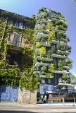 Bosco Verticale is a pair of two upscale residential towers in Milan`s Porta Nuova district consisting of hundreds of. Milan, Italy - April 25, 2018: Bosco Stock Photography