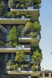 Bosco Verticale is a pair of two upscale residential towers in Milan`s Porta Nuova district consisting of hundreds of. Milan, Italy - April 25, 2018: Bosco Stock Photo