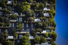 Bosco Verticale.Two modern buildings combined design and ecology in the city center with a forest of 1000 trees. royalty free stock photography