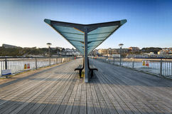 Boscombe Pier. Boscombe Pie in Bournemouth, looking back towards the town Stock Photo