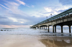 Boscombe Pier. A stormy afternoon on Boscombe Pier near Bournemouth in Dorset Royalty Free Stock Image