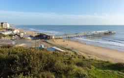 Boscombe Pier Bournemouth kust Dorset England UK nära till Poole Arkivbild