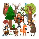 Bosdieren en jager Vector illustratie Royalty-vrije Stock Afbeeldingen