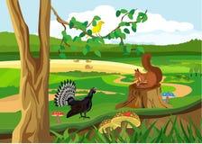Bosdieren en vogels, het wildscène, vectorillustratie vector illustratie