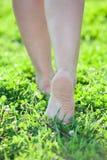 Bose kobiet nogi kroczy na zielonej trawie fotografia stock