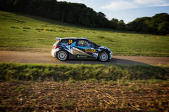 Bosenberg , Germany - August 22: French driver QUENTIN GIORDANO and his codriver Valentin Sarreaud in a Citroen DS3 R3T WRC3 Royalty Free Stock Photo