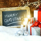 Boses et bougies de cadeau pour Noël Image stock