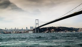 Bosphorus bridge. The Bosphorus bridge situated in Istanbul, Turkey. This bridge unites Europe with Asia Royalty Free Stock Photos