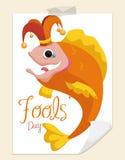 Boshafte Fische im Harlekin-Kostüm für April Fools ' Tag, Vektor-Illustration Stockbild
