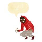 boshafter Junge der Karikatur in der mit Kapuze Spitze mit Spracheblase Lizenzfreies Stockbild