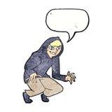 boshafter Junge der Karikatur in der mit Kapuze Spitze mit Spracheblase Stockbild