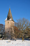 Bosham-Kirche im Winter Stockfoto