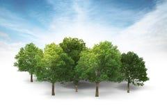 Bosje op wit met blauwe hemel en wolkenachtergrond royalty-vrije illustratie