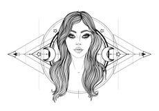 Boska bogini Czarny i biały dziewczyna nad świętym geometria znakiem, odosobniona ilustracja Tatuażu nakreślenie Mistyczny symbol ilustracja wektor