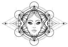Boska bogini Czarny i biały dziewczyna nad świętym geometria znakiem, odosobniona ilustracja Tatuażu nakreślenie Mistyczny symbol royalty ilustracja