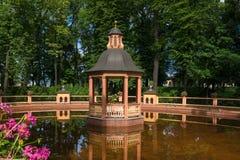 Bosket Menagerie pond. SAINT PETERSBURG, RUSSIA - AUGUST 18, 2017: Bosket `Menagerie pond` 1720, according to the drawings of Jan Roosen; restored in 2011 in the Royalty Free Stock Image