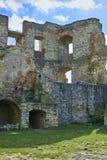 Boskovice,捷克- 2013年9月28日:13世纪哥特式城堡Boskovice hrad的废墟在南摩拉维亚,捷克语关于 库存照片