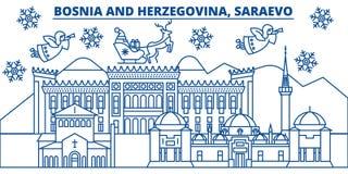 Bosnië-Herzegovina, Saraevo-de horizon van de de winterstad vrolijke Kerstmis, stock illustratie
