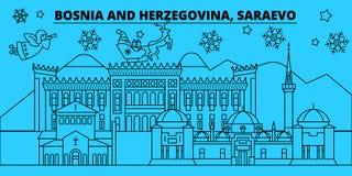 Bosnië-Herzegovina, Saraevo-de horizon van de de wintervakantie Vrolijke Kerstmis, Gelukkig Nieuwjaar met Santa Claus Bosnië stock illustratie