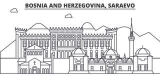 Bosnië-Herzegovina, Saraevo-de horizonillustratie van de architectuurlijn Lineaire vectorcityscape met beroemde oriëntatiepunten stock illustratie