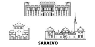 Bosnië-Herzegovina, Saraevo-de horizonreeks van de lijnreis Bosnië-Herzegovina, Saraevo-de vector van de overzichtsstad stock illustratie