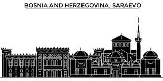 Bosnië-Herzegovina, Saraevo-horizon van de architectuur de vectorstad, reiscityscape met oriëntatiepunten, geïsoleerde gebouwen, royalty-vrije illustratie