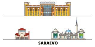 Bosnië-Herzegovina, vlakke de oriëntatiepunten vectorillustratie van Saraevo Bosnië-Herzegovina, Saraevo-lijnstad met vector illustratie